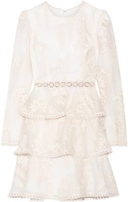 Zimmermann Tiered Embroidered Silk-organza Mini Dress