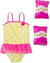 Jump N Splash Toddler Girls' Baby Heart Skirted One Piece Swimsuit w/ Free Floaties (2T4T) - 8143044