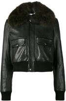 Givenchy cropped flight bomber jacket - women - Calf Leather/Viscose/Racoon Fur - 4