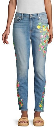 7 For All Mankind High-Rise Embroidered Floral Skinny Ankle Jeans
