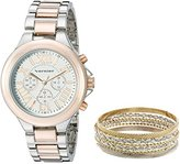 Vernier Women's VNR1100SET Two-Tone Watch and Jewelry Box Set
