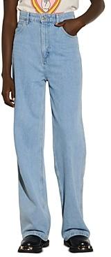 Sandro Jordy Wide Leg Jeans in Blue Jeans