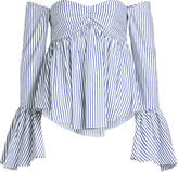 Caroline Constas Max Striped Cotton Off-Shoulder Blouse