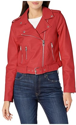 Levi's Faux Leather Fashion Moto (Red) Women's Clothing