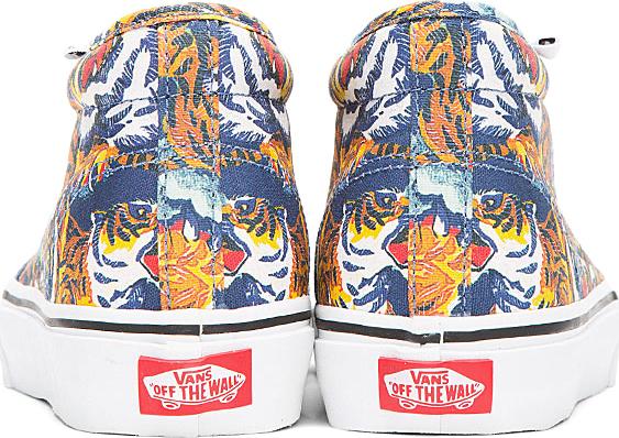 Kenzo Orange Flying Tiger Print Vans Edition Chukka Sneakers