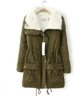 Yougao Women's Faux Fur Lapel Long Quilted Coat Cotton-Padded Parka Long Jacket S