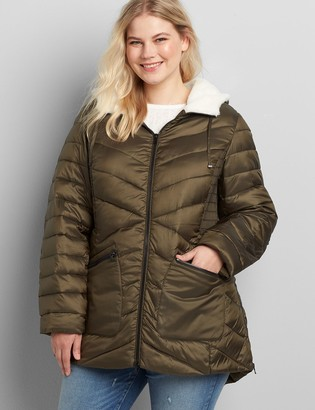 Lane Bryant Sherpa-Lined Hood Shirred-Side Packable Puffer Jacket