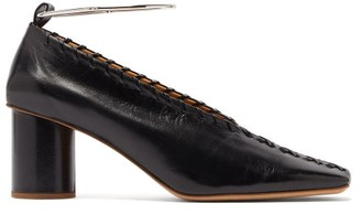 Jil Sander Whipstitched Square-toe Leather Pumps - Womens - Black