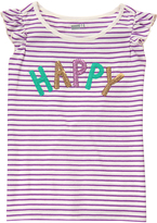 Crazy 8 Purple & Mint Stripe 'Happy' Flutter-Sleeve Top - Girls