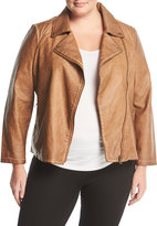 Bagatelle Plus Washed Faux-Leather Jacket, Plus Size