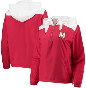 Unbranded Women's Red/White Maryland Terrapins Colorblock Anorak Quarter-Zip Pullover Jacket