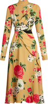 MSGM High-neck floral-print crepe dress