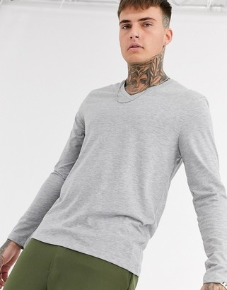 Asos Design DESIGN long sleeve t-shirt with v neck in gray marl