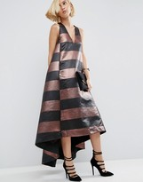 Asos Metallic Stripe Maxi Dress