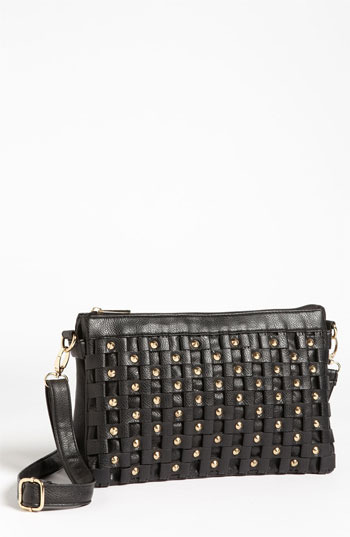 Top Choice Studded Faux Leather Crossbody Clutch Black/ Gold