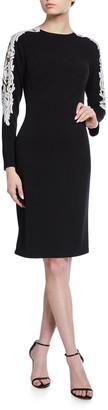 Tadashi Shoji Long-Sleeve Crepe Dress w/ Sequin Detail