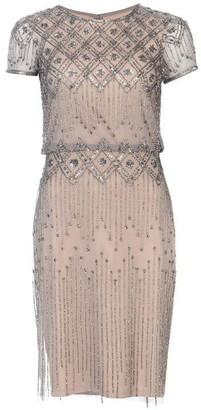 Adrianna Papell V Neck Beaded Dress