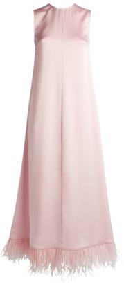 Huishan Zhang Lavinia Feather-Trim Midi Dress