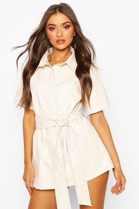 boohoo PU Belted Shirt Dress