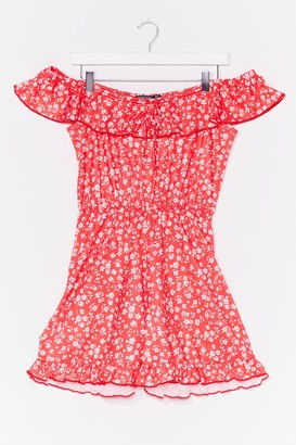 Nasty Gal Womens In Floral Treat Off-the-Shoulder Romper - Red