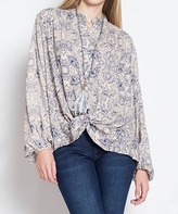 Blu Heaven Taupe Abstract Bishop's Sleeve Button-Up Top