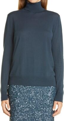 Lafayette 148 New York Split Mock Neck Wool Sweater