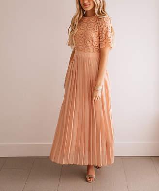 Blush B-Lush So Perla Women's Maxi Dresses Blush - Blush Lace Bodice Pleated Maxi Dress - Women