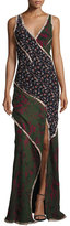 Jason Wu Sleeveless Mixed-Print Chiffon Gown, Multi