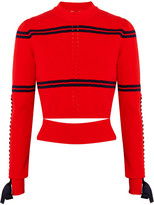Fendi Cutout Faille-trimmed Striped Pointelle-knit Sweater - Red