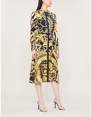 Versace Baroque-Print Silk-Twill Midi Dress