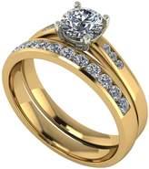 Moissanite 9ct Gold 1ct total Round Brilliant Centre bridal Set