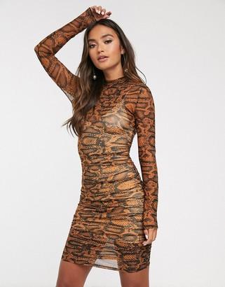 Finders Keepers bel air bodycon mini dress in snake-Beige