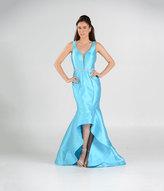Unique Vintage Turquoise Blue Sheer Illusion High Low Dress