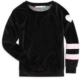 Vintage Havana Girls' Varsity Stripe Velour Top - Sizes S-XL