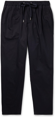 Dolce & Gabbana Navy Slim-Fit Cropped Cotton And Silk-Blend Drawstring Trousers