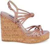 Stuart Weitzman Seascape Leather & Cork Platform Wedge Sandals