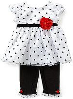 Sweet Heart Rose Sweetheart Rose Newborn-24 Months Dotted Dress & Leggings Set