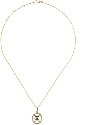 Annoushka 18kt yellow gold diamond initial X necklace