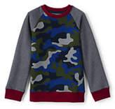 Lands' End Boys Husky Printed Crewneck Sweatshirt-Cobalt Blue Camo