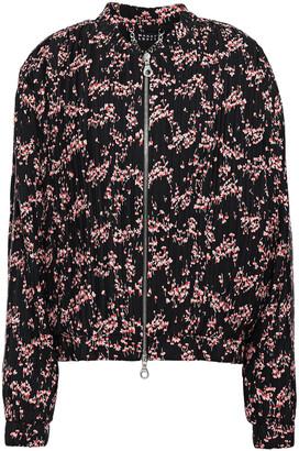 Markus Lupfer Rae Floral-print Plisse Crepe De Chine Bomber Jacket