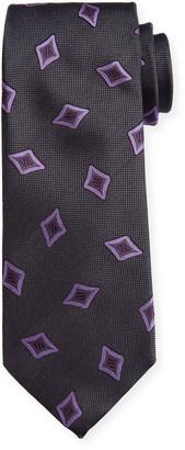 Canali Men's Tossed Medallions Silk Tie, Gray