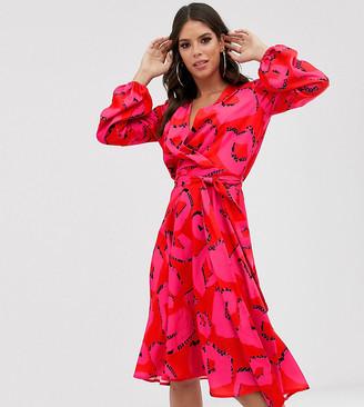 Flounce London Tall satin wrap midi dress in pink polka dot