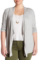 Joan Vass Long Sleeve Rib Cardigan (Plus Size)