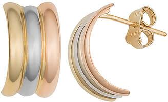 10k Italian Gold 10K Italian Gold Tri-Color Half Hoop Earrings