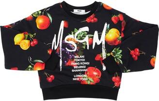 MSGM Fruit Printed Cotton Cropped Sweatshirt