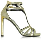 Roberto Cavalli Laminated Python Sandals