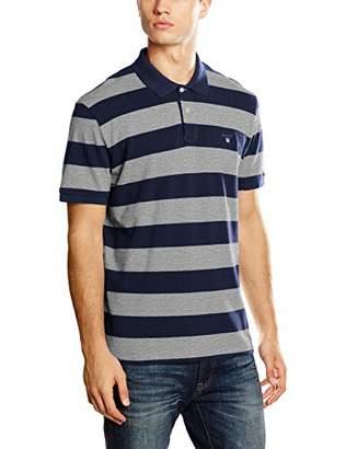 Gant Men's Barstripe Pique Rugger Polo Shirt, (Grey Melange 93), Small