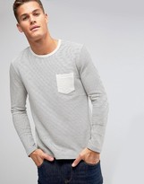 Selected Long Sleeve Top in Textured Stripe with Contrast Pocket