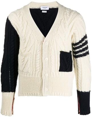 Thom Browne Aran knit v-neck cardigan