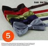 DBF2003 Bowtie Fashion White,Gold,Green,Silver,Pink Solid Poly Pre-tied Bow tie Gift Box Set 5T By Dan Smith